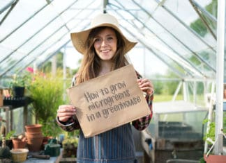 A lady standing in a greenhouse with a sign